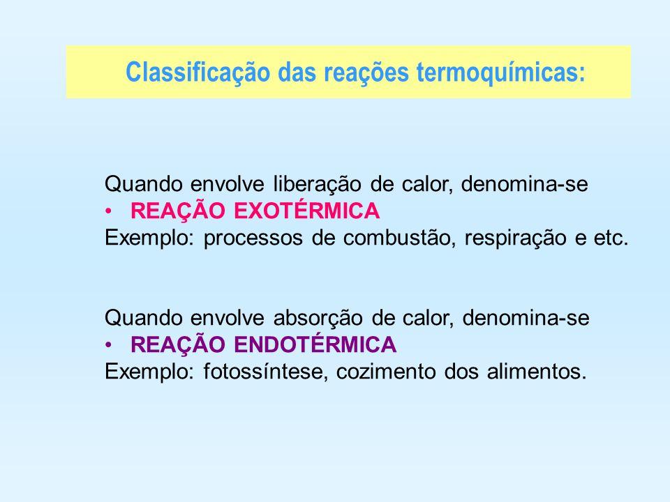 Classificação das reações termoquímicas: