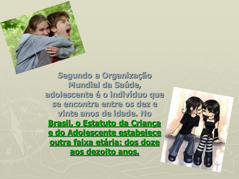 Segundo a Organização Mundial da Saúde, adolescente é o indivíduo que se encontra entre os dez e vinte anos de idade.