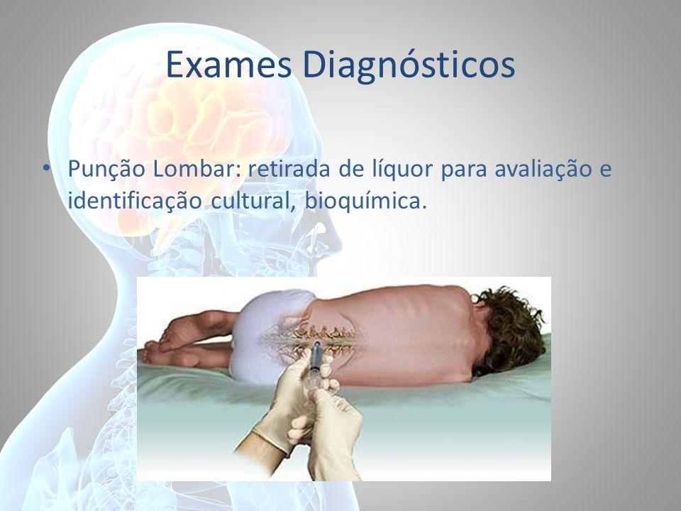 Exames Diagnósticos Punção Lombar: retirada de líquor para avaliação e identificação cultural, bioquímica.