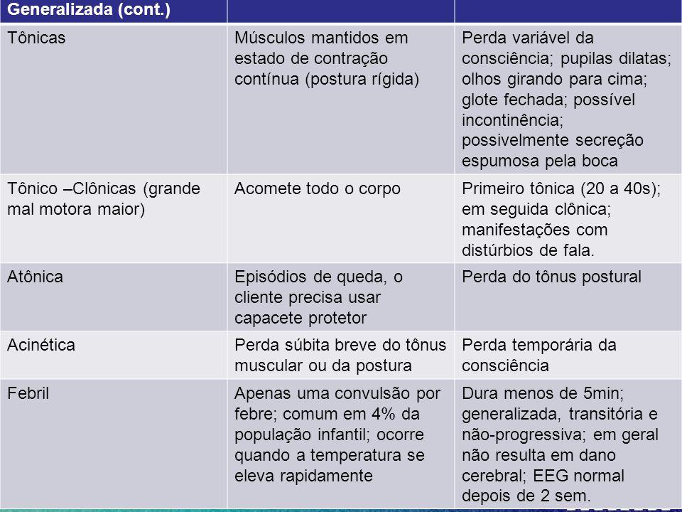 Generalizada (cont.) Tônicas. Músculos mantidos em estado de contração contínua (postura rígida)