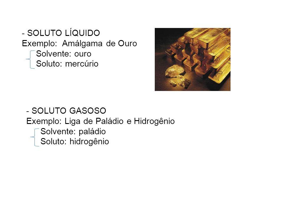 - SOLUTO LÍQUIDO Exemplo: Amálgama de Ouro. Solvente: ouro. Soluto: mercúrio. - SOLUTO GASOSO. Exemplo: Liga de Paládio e Hidrogênio.