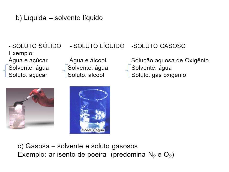 b) Líquida – solvente líquido