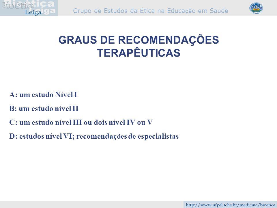 GRAUS DE RECOMENDAÇÕES TERAPÊUTICAS