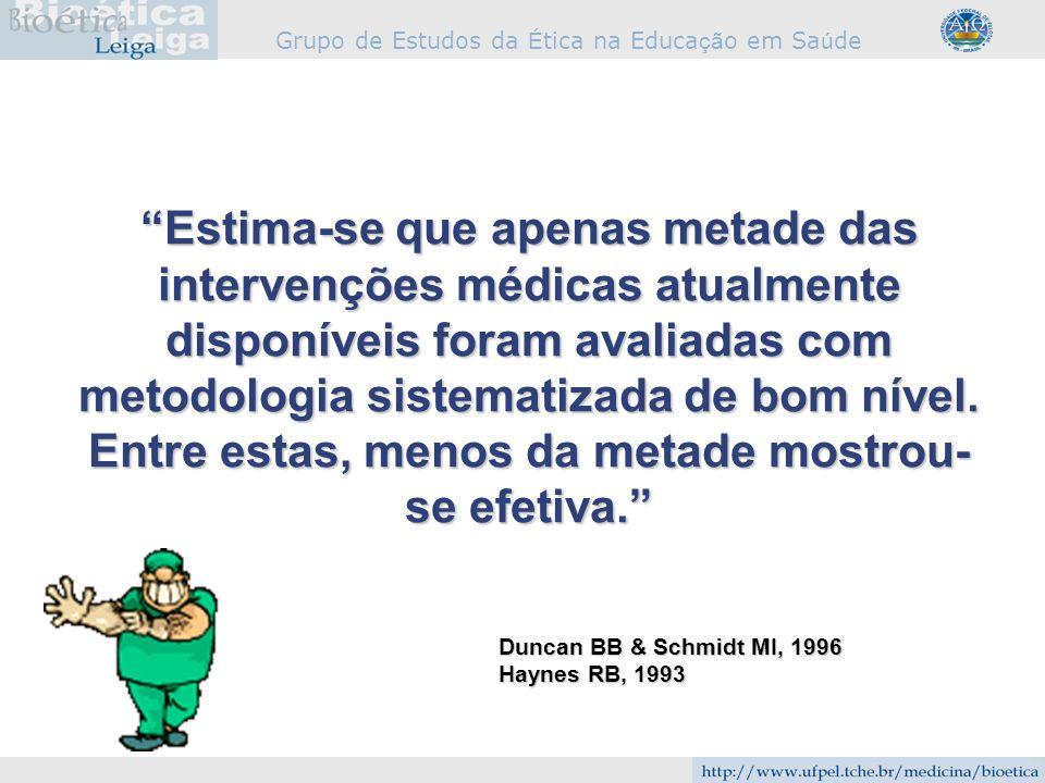 Estima-se que apenas metade das intervenções médicas atualmente disponíveis foram avaliadas com metodologia sistematizada de bom nível. Entre estas, menos da metade mostrou-se efetiva.