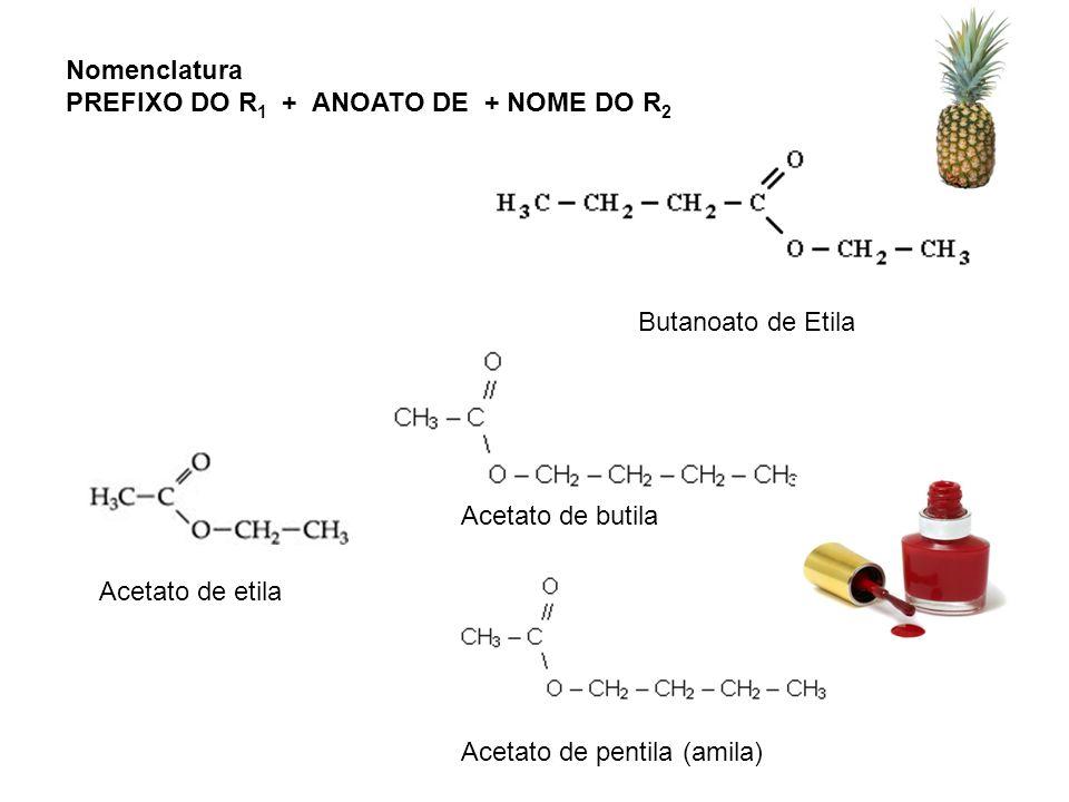 Nomenclatura PREFIXO DO R1 + ANOATO DE + NOME DO R2. Butanoato de Etila. Acetato de butila. Acetato de etila.