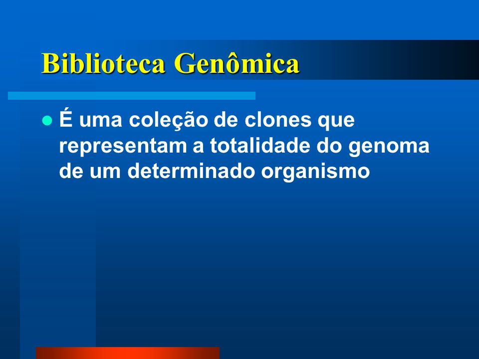 Biblioteca Genômica É uma coleção de clones que representam a totalidade do genoma de um determinado organismo.
