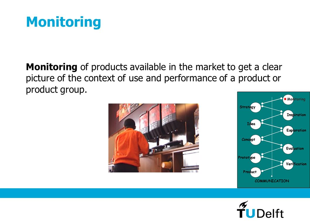 Monitoring Monitoring of products available in the market to get a clear picture of the context of use and performance of a product or product group.