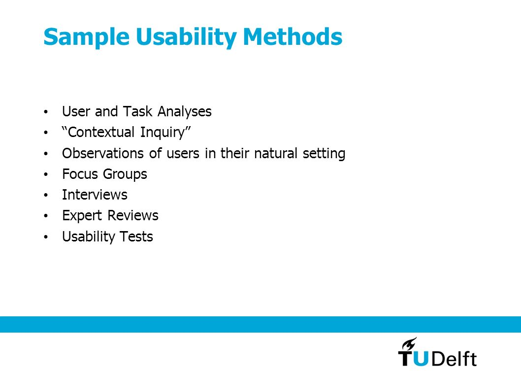 Sample Usability Methods