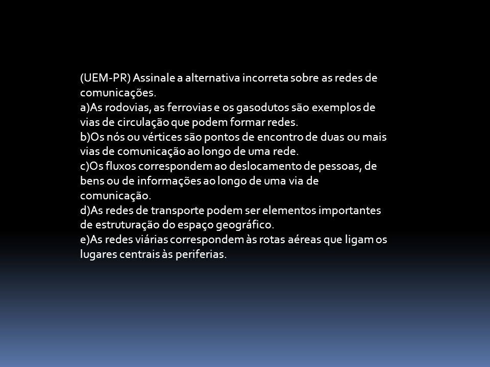 (UEM-PR) Assinale a alternativa incorreta sobre as redes de comunicações.