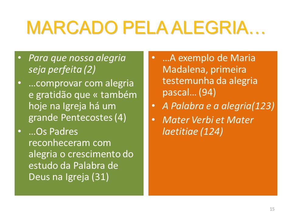 MARCADO PELA ALEGRIA… Para que nossa alegria seja perfeita (2)