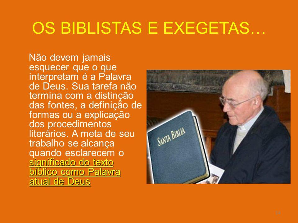OS BIBLISTAS E EXEGETAS…