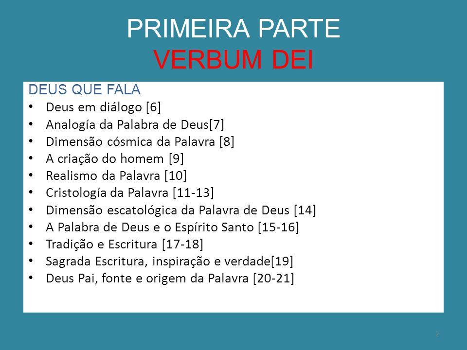 PRIMEIRA PARTE VERBUM DEI