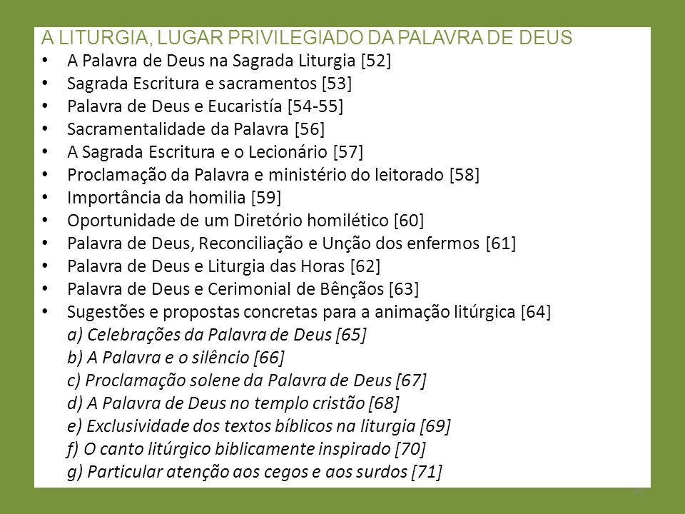 A LITURGIA, LUGAR PRIVILEGIADO DA PALAVRA DE DEUS