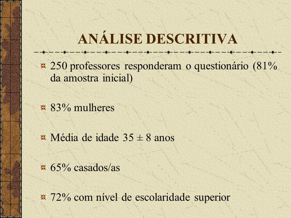 ANÁLISE DESCRITIVA 250 professores responderam o questionário (81% da amostra inicial) 83% mulheres.