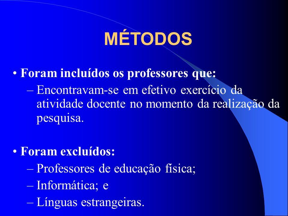 MÉTODOS Foram incluídos os professores que: