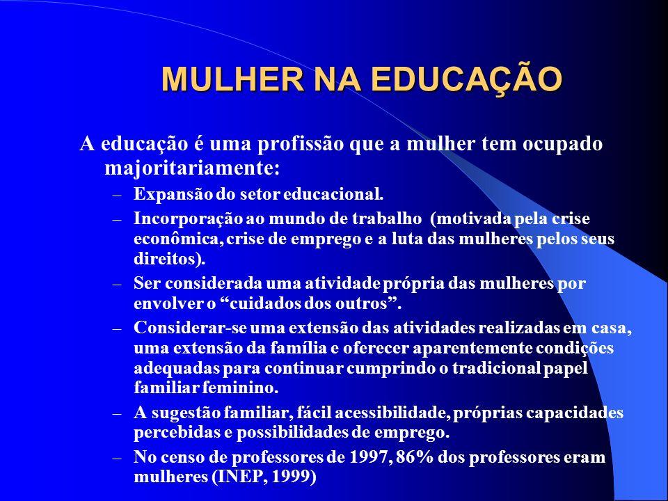 MULHER NA EDUCAÇÃO A educação é uma profissão que a mulher tem ocupado majoritariamente: Expansão do setor educacional.
