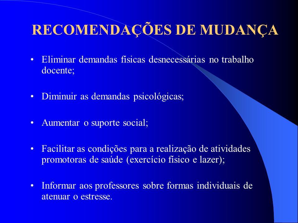 RECOMENDAÇÕES DE MUDANÇA
