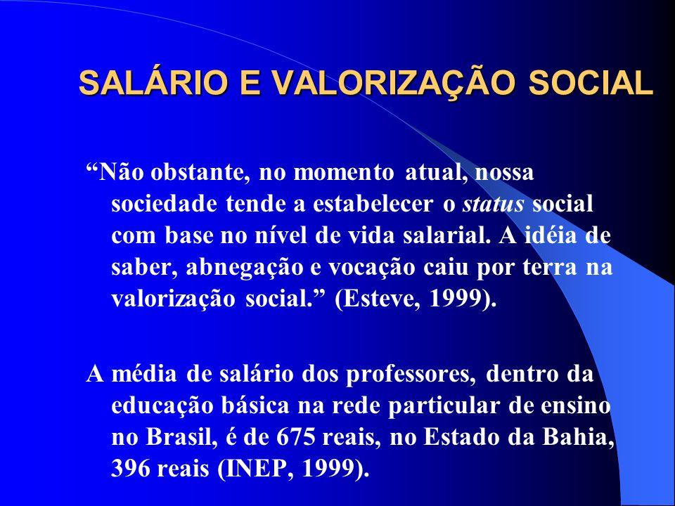 SALÁRIO E VALORIZAÇÃO SOCIAL
