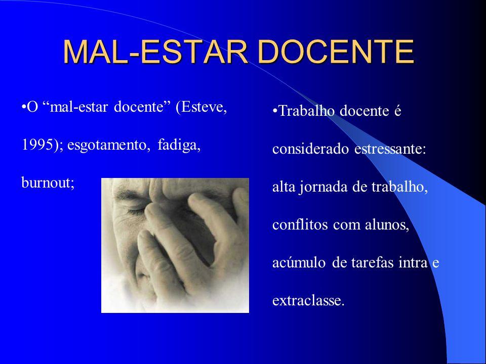 MAL-ESTAR DOCENTE O mal-estar docente (Esteve, 1995); esgotamento, fadiga, burnout;