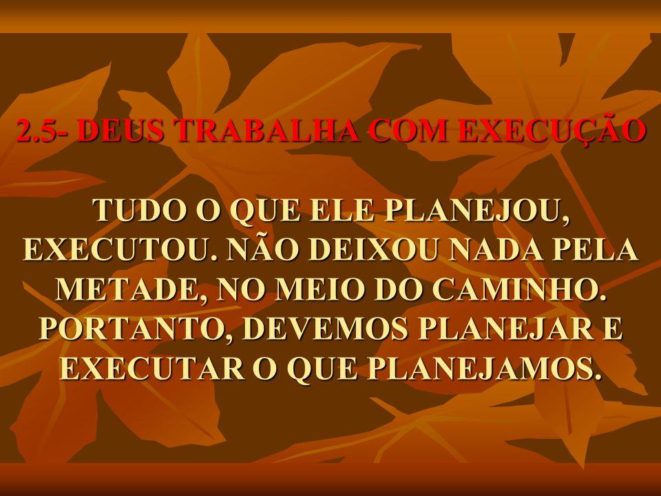 2. 5- DEUS TRABALHA COM EXECUÇÃO TUDO O QUE ELE PLANEJOU, EXECUTOU
