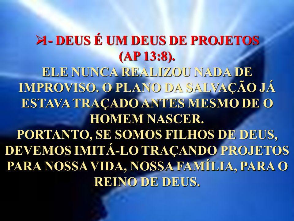 1- DEUS É UM DEUS DE PROJETOS (AP 13:8)