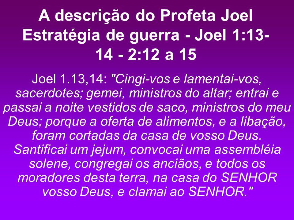 A descrição do Profeta Joel Estratégia de guerra - Joel 1:13-14 - 2:12 a 15
