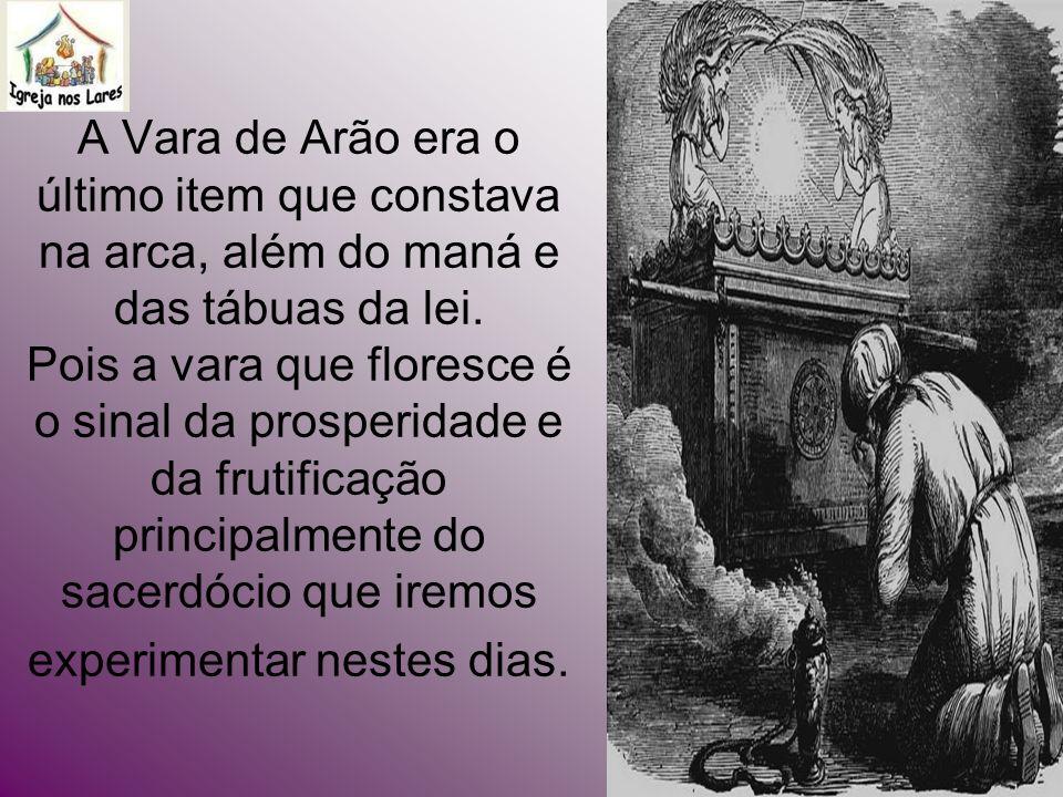 A Vara de Arão era o último item que constava na arca, além do maná e das tábuas da lei.
