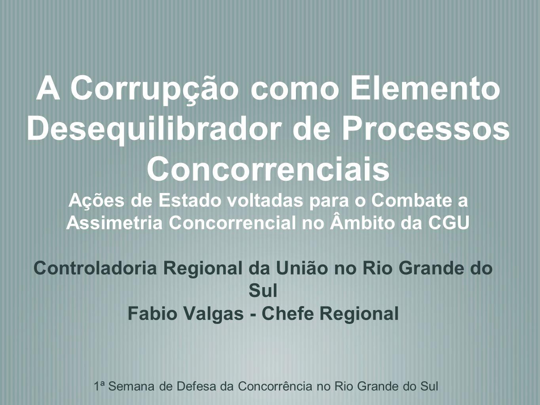 A Corrupção como Elemento Desequilibrador de Processos Concorrenciais Ações de Estado voltadas para o Combate a Assimetria Concorrencial no Âmbito da CGU