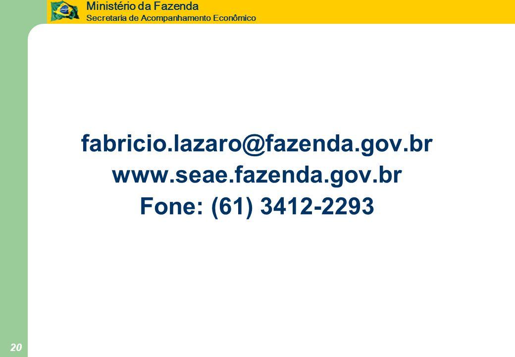fabricio.lazaro@fazenda.gov.br www.seae.fazenda.gov.br Fone: (61) 3412-2293