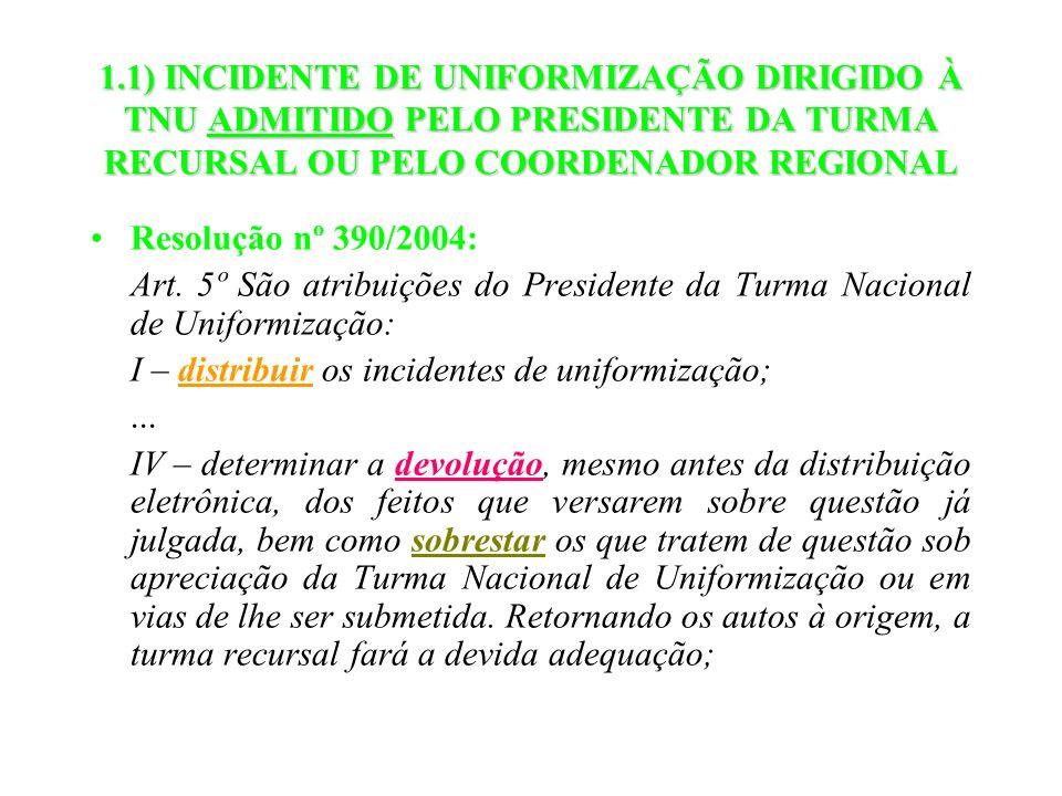 1.1) INCIDENTE DE UNIFORMIZAÇÃO DIRIGIDO À TNU ADMITIDO PELO PRESIDENTE DA TURMA RECURSAL OU PELO COORDENADOR REGIONAL