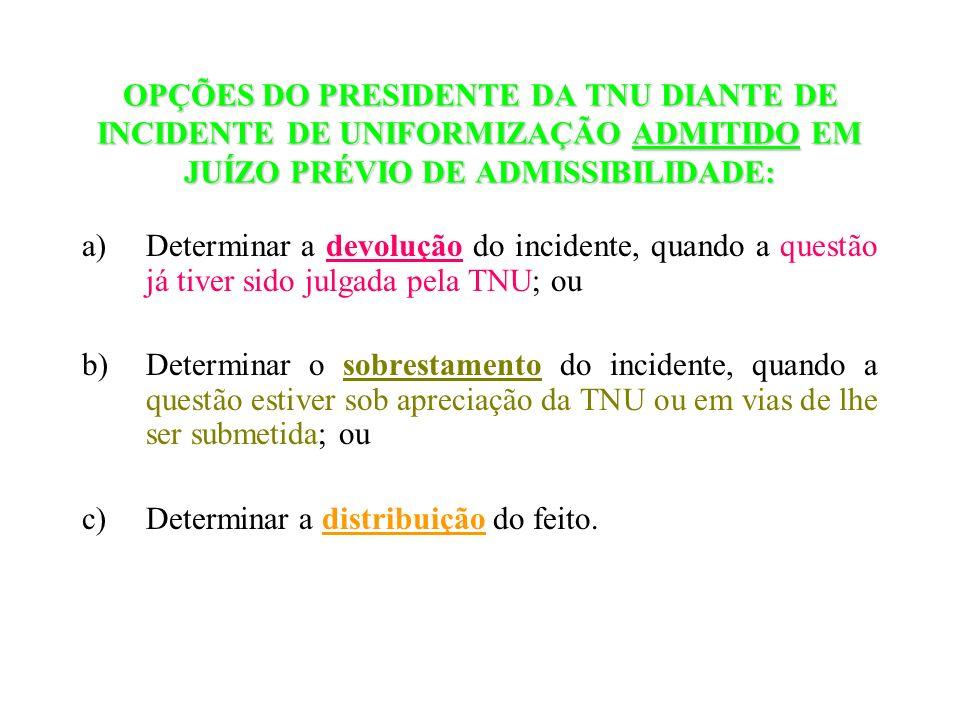 OPÇÕES DO PRESIDENTE DA TNU DIANTE DE INCIDENTE DE UNIFORMIZAÇÃO ADMITIDO EM JUÍZO PRÉVIO DE ADMISSIBILIDADE: