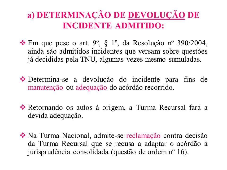 a) DETERMINAÇÃO DE DEVOLUÇÃO DE INCIDENTE ADMITIDO: