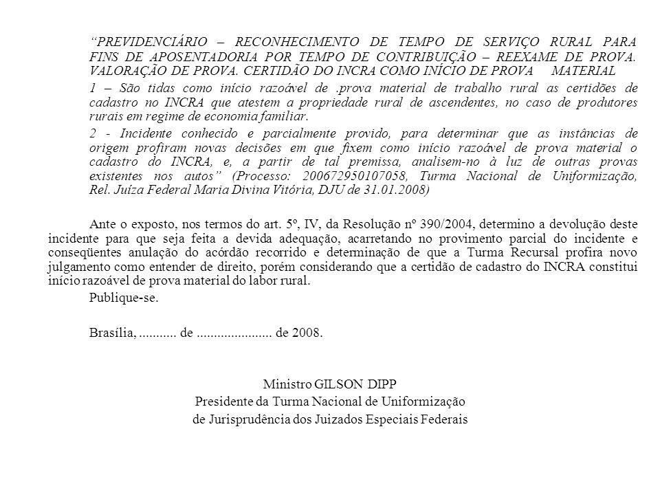 PREVIDENCIÁRIO – RECONHECIMENTO DE TEMPO DE SERVIÇO RURAL PARA