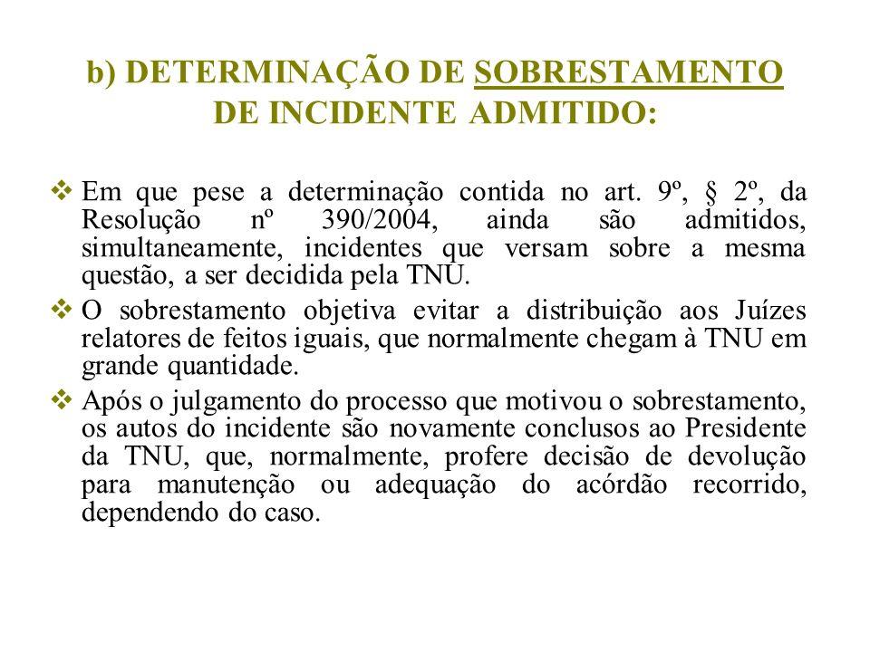 b) DETERMINAÇÃO DE SOBRESTAMENTO DE INCIDENTE ADMITIDO: