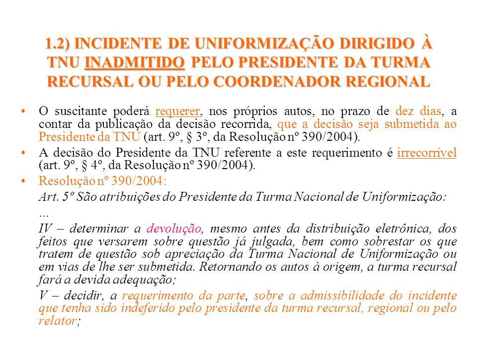 1.2) INCIDENTE DE UNIFORMIZAÇÃO DIRIGIDO À TNU INADMITIDO PELO PRESIDENTE DA TURMA RECURSAL OU PELO COORDENADOR REGIONAL