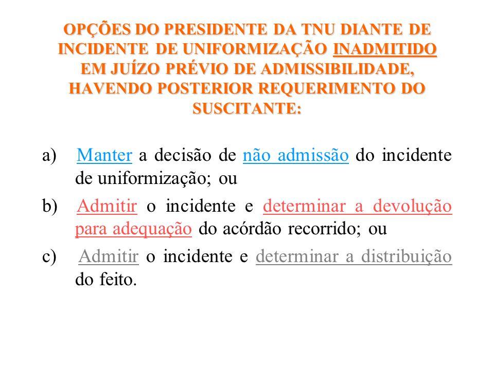 a) Manter a decisão de não admissão do incidente de uniformização; ou