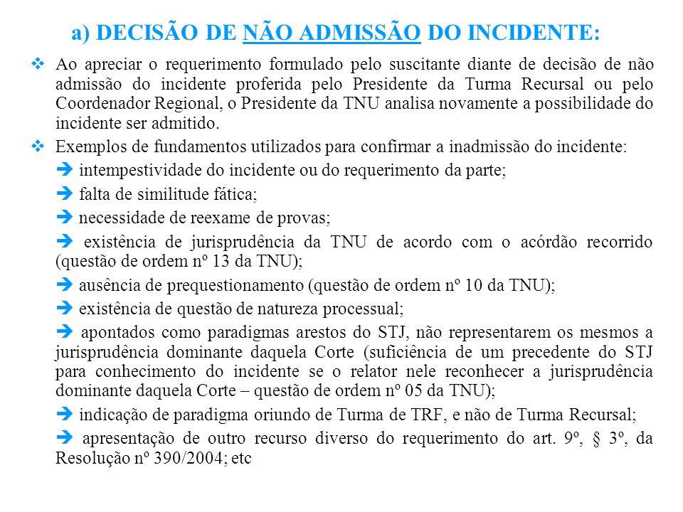 a) DECISÃO DE NÃO ADMISSÃO DO INCIDENTE:
