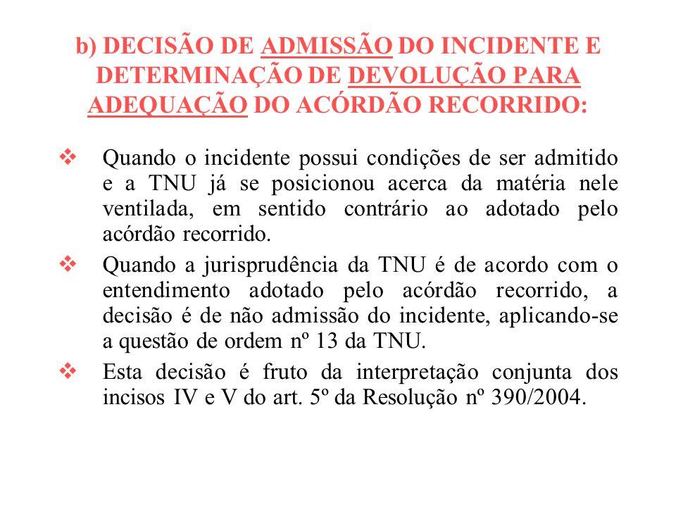 b) DECISÃO DE ADMISSÃO DO INCIDENTE E DETERMINAÇÃO DE DEVOLUÇÃO PARA ADEQUAÇÃO DO ACÓRDÃO RECORRIDO: