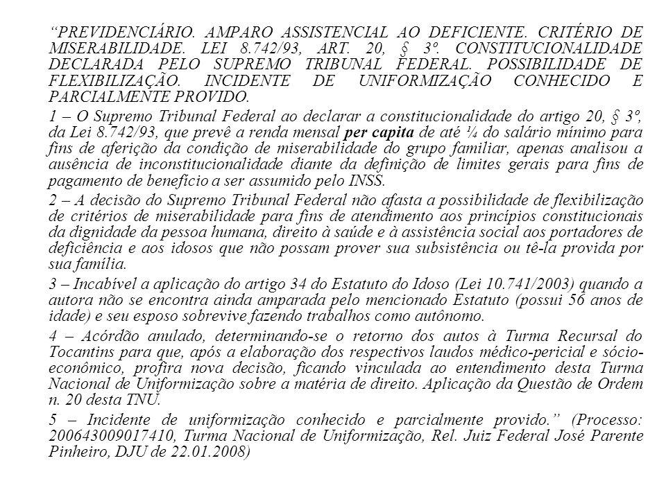 PREVIDENCIÁRIO. AMPARO ASSISTENCIAL AO DEFICIENTE
