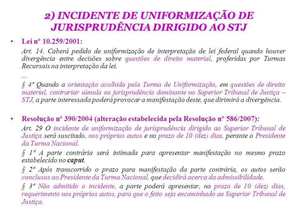 2) INCIDENTE DE UNIFORMIZAÇÃO DE JURISPRUDÊNCIA DIRIGIDO AO STJ