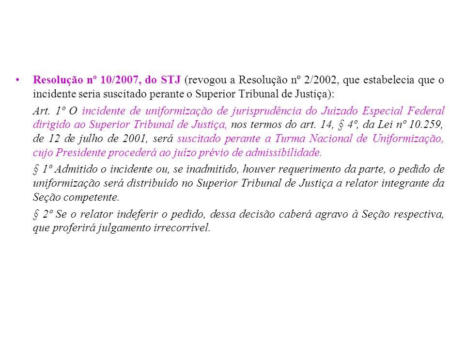 Resolução nº 10/2007, do STJ (revogou a Resolução nº 2/2002, que estabelecia que o incidente seria suscitado perante o Superior Tribunal de Justiça):