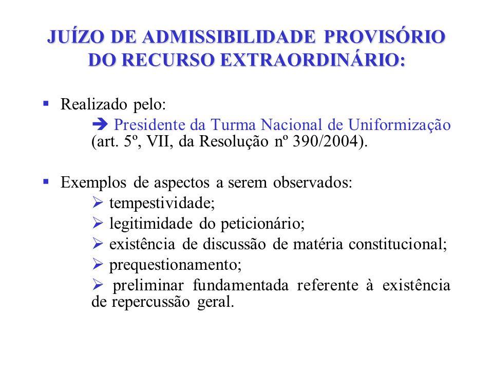 JUÍZO DE ADMISSIBILIDADE PROVISÓRIO DO RECURSO EXTRAORDINÁRIO: