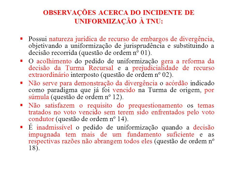 OBSERVAÇÕES ACERCA DO INCIDENTE DE UNIFORMIZAÇÃO À TNU: