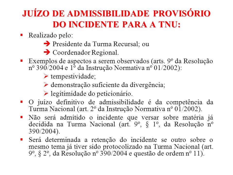 JUÍZO DE ADMISSIBILIDADE PROVISÓRIO DO INCIDENTE PARA A TNU: