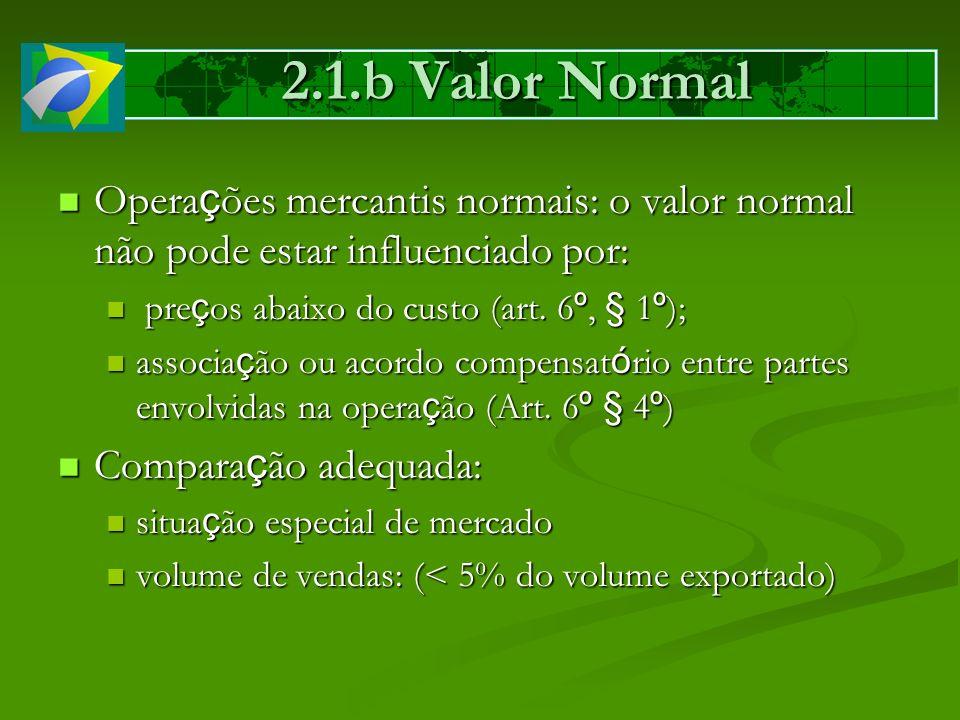 2.1.b Valor Normal Operações mercantis normais: o valor normal não pode estar influenciado por: preços abaixo do custo (art. 6º, § 1º);