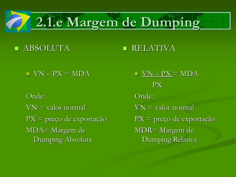 2.1.e Margem de Dumping ABSOLUTA RELATIVA VN – PX = MDA Onde: