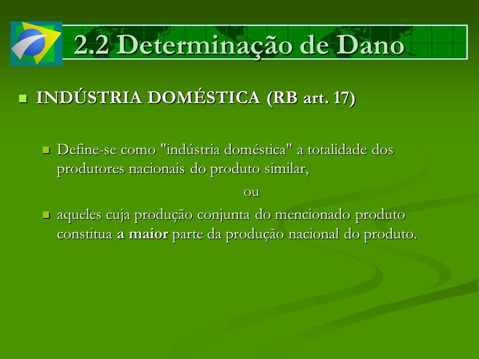 2.2 Determinação de Dano INDÚSTRIA DOMÉSTICA (RB art. 17)