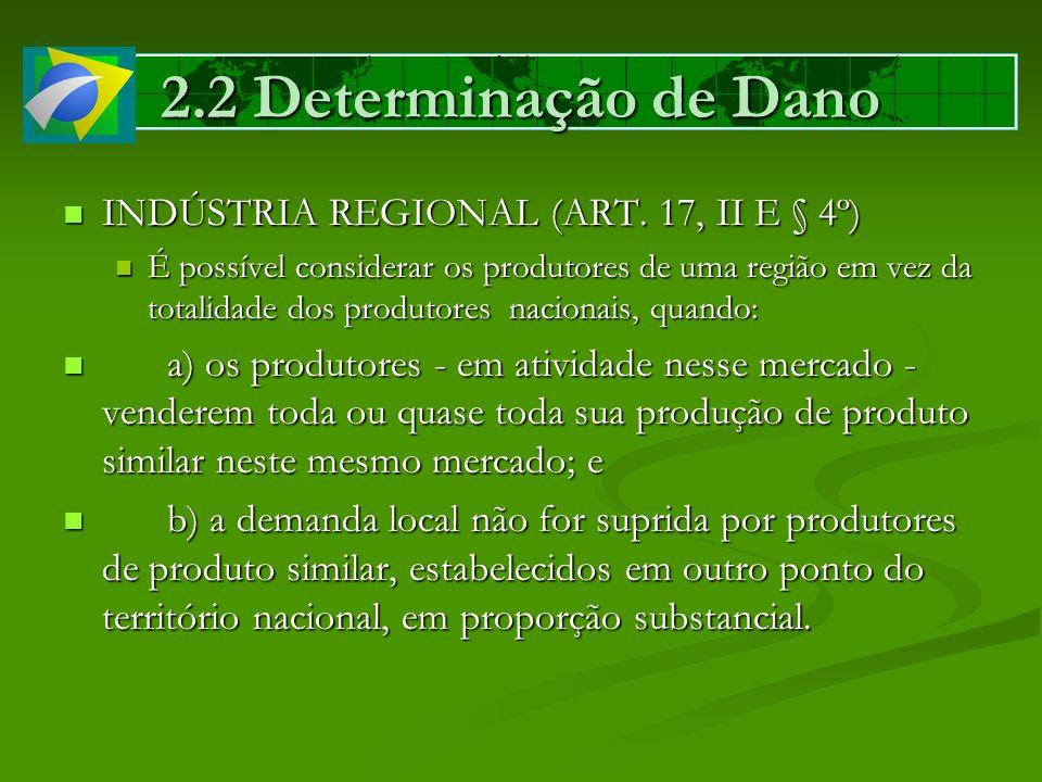 2.2 Determinação de Dano INDÚSTRIA REGIONAL (ART. 17, II E § 4º)
