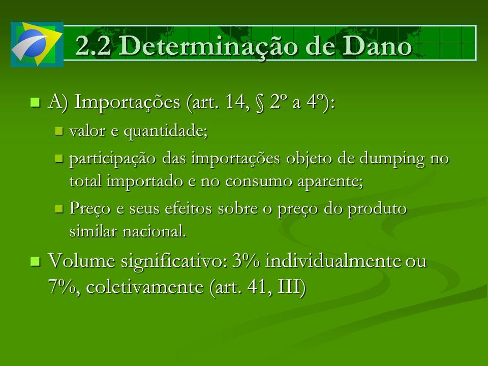 2.2 Determinação de Dano A) Importações (art. 14, § 2º a 4º):