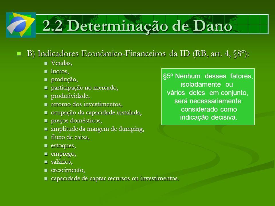 2.2 Determinação de Dano B) Indicadores Econômico-Financeiros da ID (RB, art. 4, §8º): Vendas, lucros,